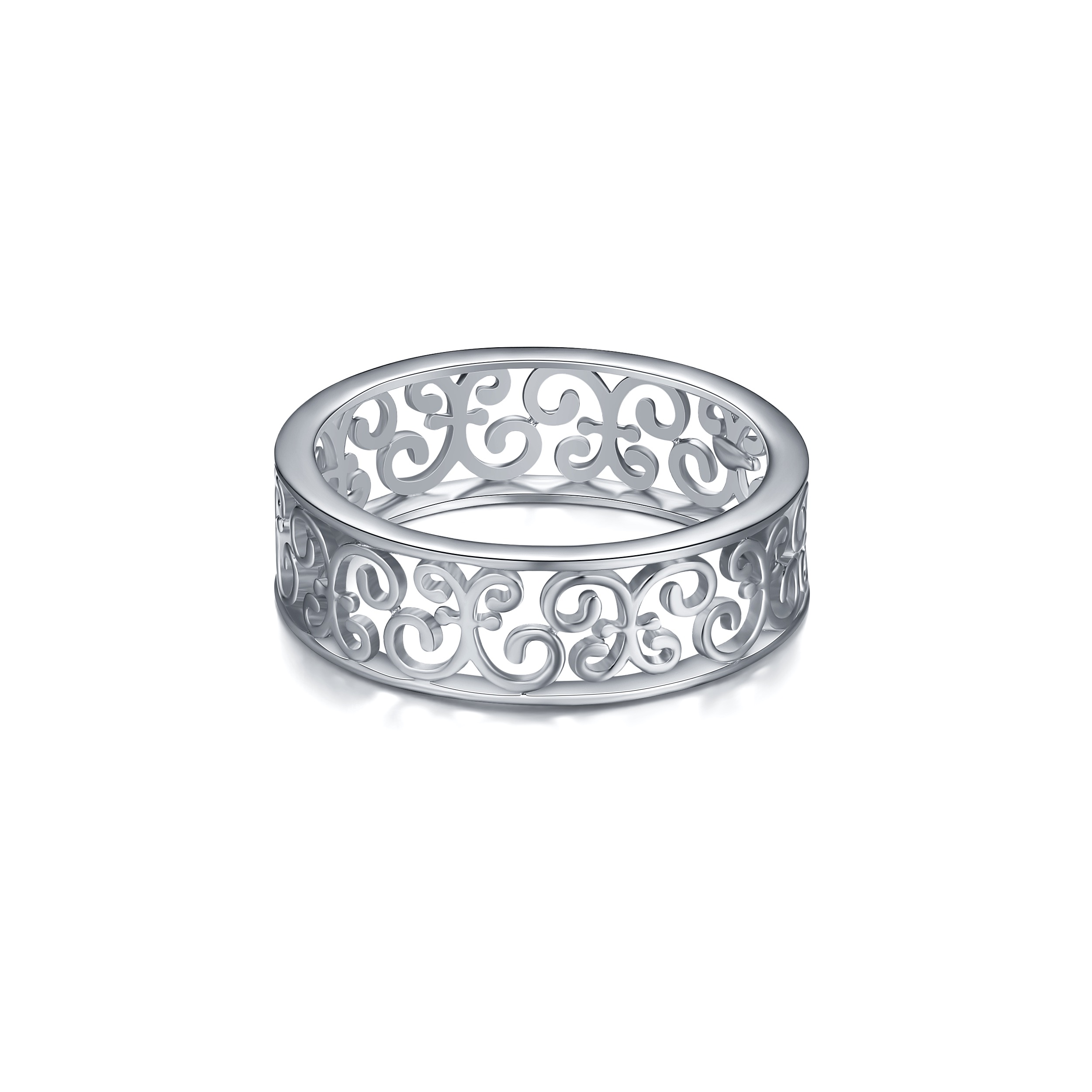 17a1e68feae4e Filigree Band Ring in Sterling Silver Rhodium Plated