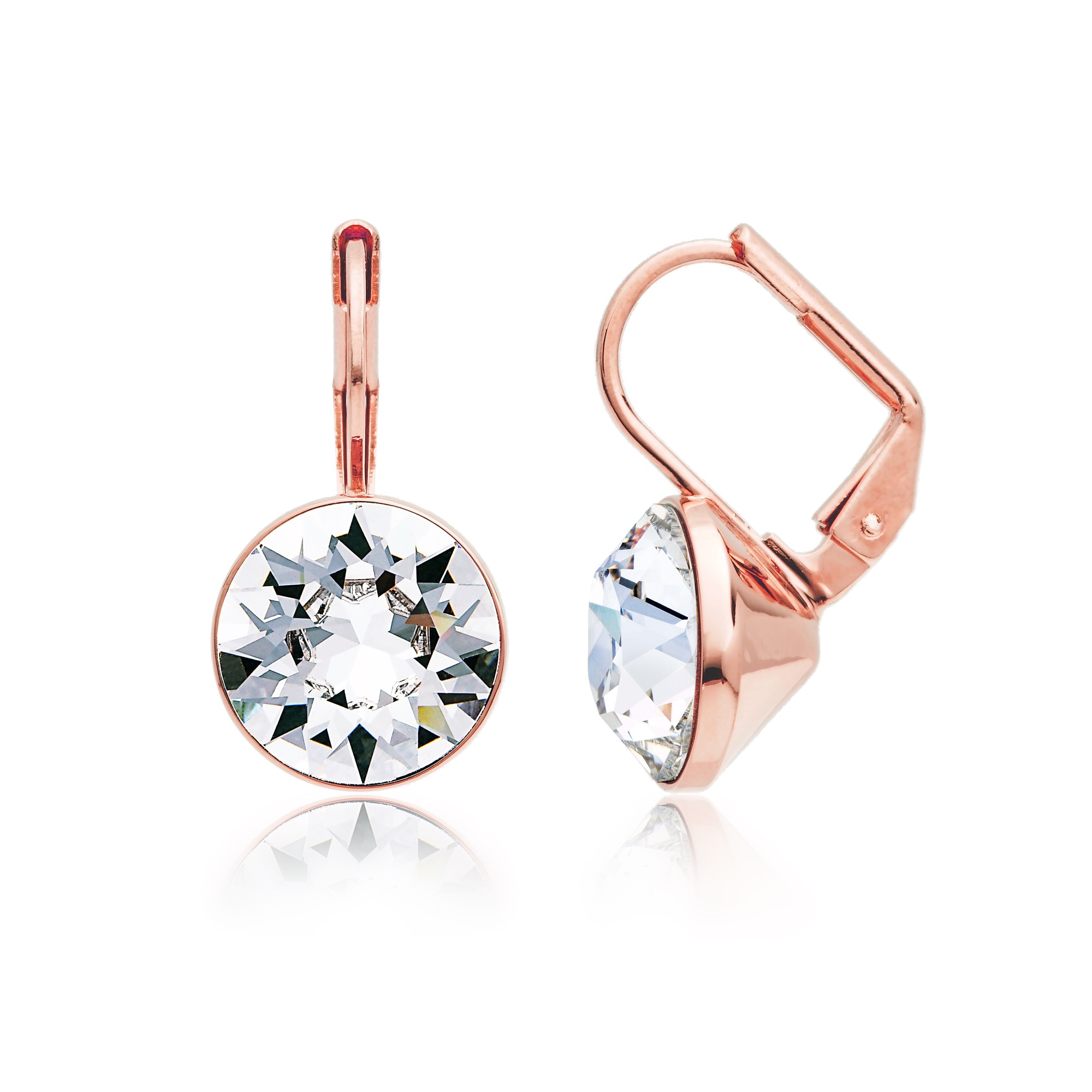 f028f7179 Bella Earrings with 4 Carat Clear Swarovski® Crystals Rose Gold Plated