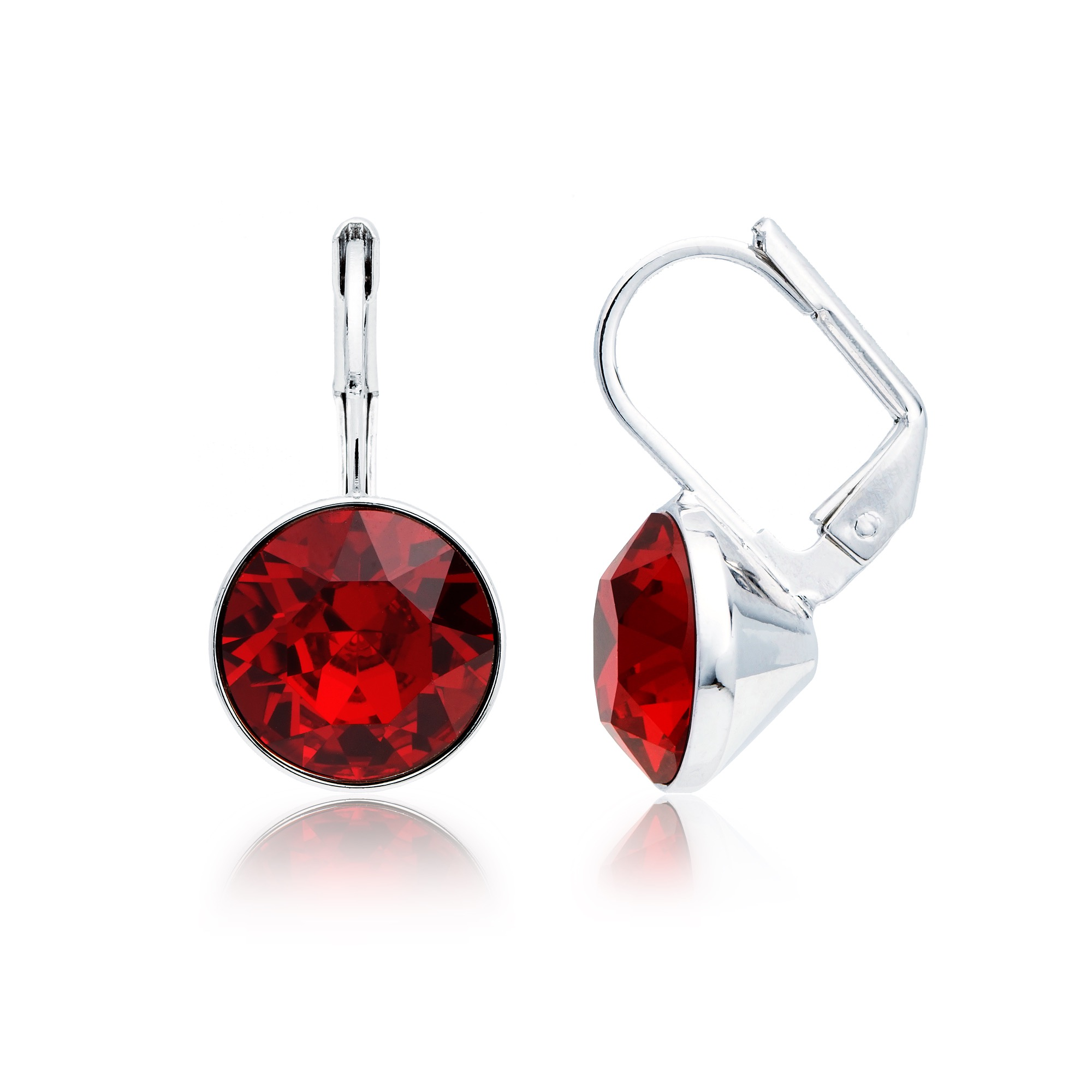 95c46a808 Bella Earrings with 4 Carat Ruby Swarovski® Crystals Rhodium Plated