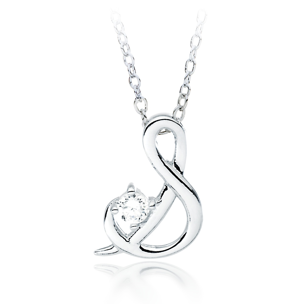 necklace inch s letter chain product with diamond pendant owned pre preowned