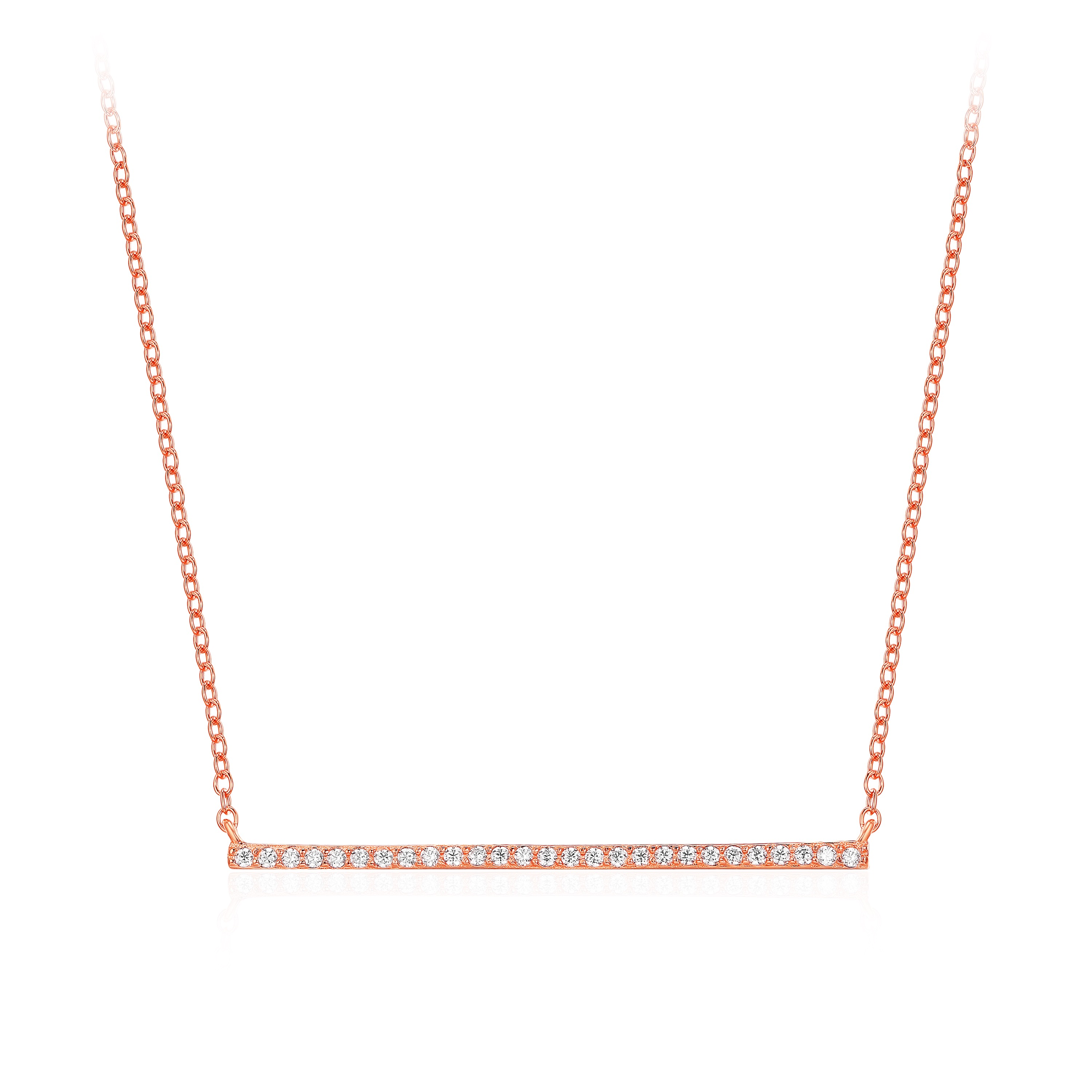 f17ed4307d8f4 Bar CZ Pave Necklace in Sterling Silver Rose Gold Plated